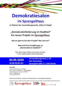 Screenshot der Einladung zum Demokratiesalon