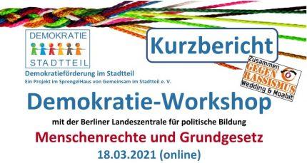 """Kurzbericht zum Demokratie-Workshop """"Menschenrechte und Grundgesetz"""" am 18.03."""